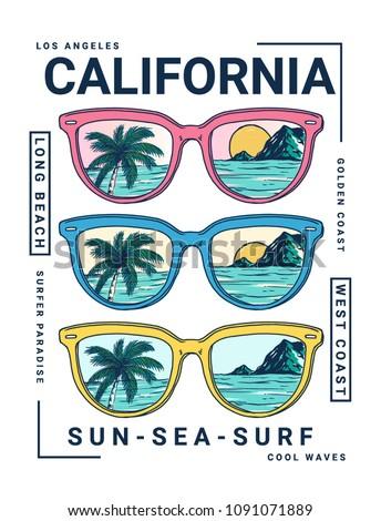 california vector illustration