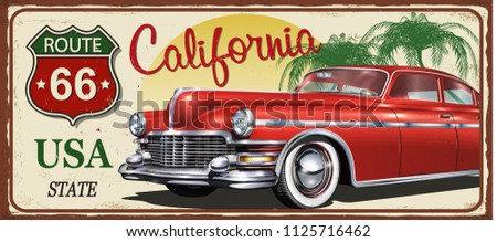 California vintage metal sign, vector illustration.
