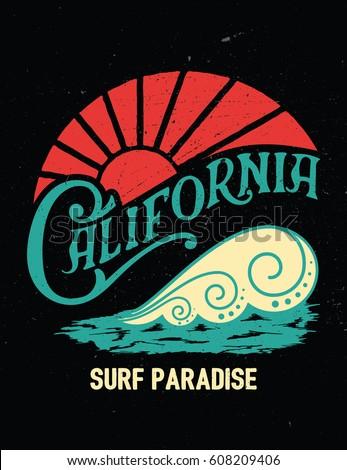 california vintage print. surf...