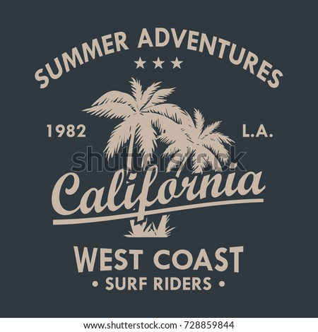 California Vintage T-Shirt Design Black And White. Vector.