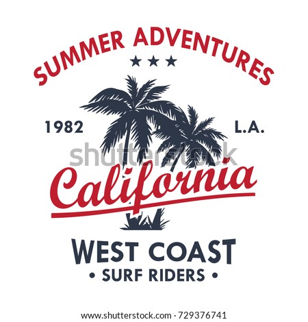 California Vintage T-Shirt Design White. Vector.