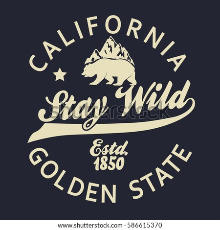 California vintage typography, grizzly Bear print, Design for t-shirt. Golden State Clothing emblem. Vector
