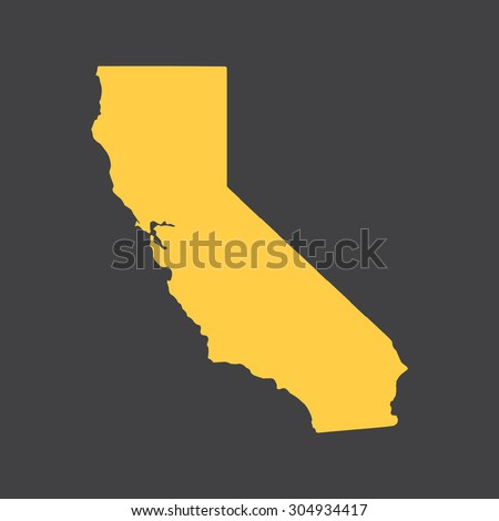 California yellow state border,map. Vector illustration EPS8.