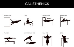 Calisthenic silhouettes set isolated on white. Male athlete doing human flag, planche, front lever, back lever, L-sit, clapping pushups, pull ups and dips. Street workout and gym own weight exercises.