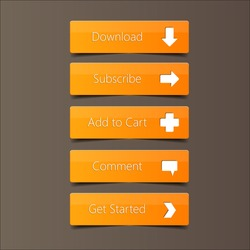 Call Action Button Orange Background, high quality button vector EPS10