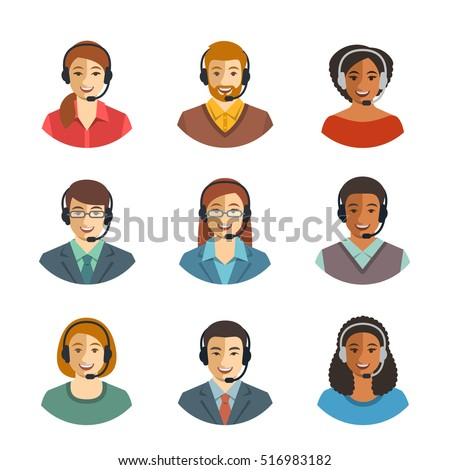Call center agents flat avatars. Live chat operators, guys and girls smiling faces. Online customer support service assistants with headphones. Help desk Caucasian, African, Asian consultants