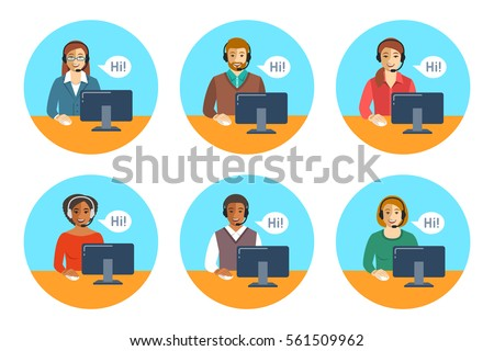 Call center agents team. Flat vector round icons. Customer care operators, guys and girls with smiling faces sitting at desks with computers. Online support service assistants with headphones