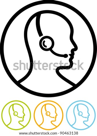 Call center assistant with headset - Vector icon isolated on white