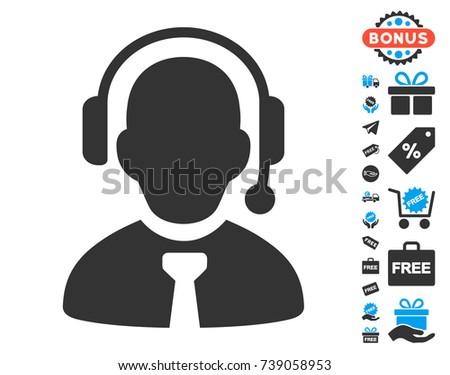 Call Center Boss icon with free bonus design elements. Vector illustration style is flat iconic symbols.