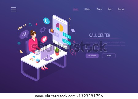 Call center. Customer service, technical support, helpline operator engaged consultation of clients. Help desk, support service help assistance, online support manager isometric vector.