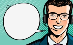 Call center, customer support, helpdesk or service concept. Man with headset. Pop art retro comic style. Cartoon vector illustration