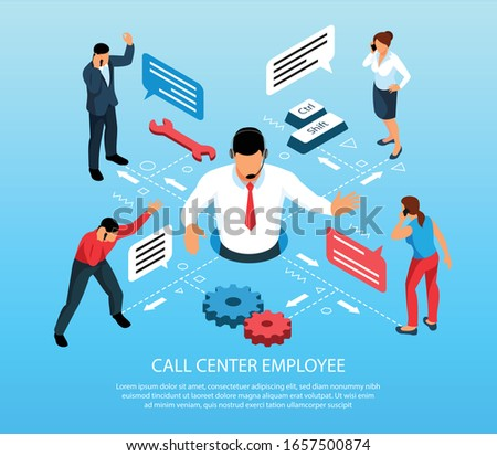 Call center employee providing customer service isometric infographic composition with cogwheel speech balloons symbols background vector illustration