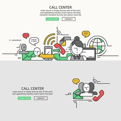 Call Center for website banner and landing page , Flat line design for website element , eps10 vector format