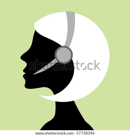 Call center girl silhouette with headset.
