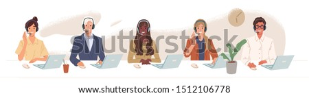 Call center, hotline flat vector illustrations. Smiling office workers with headsets cartoon characters. Customer support department staff, telemarketing agents. Multiethnic, diverse team.