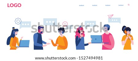 Call center, hotline  Vector illustration for web banner, infographics, mobile website. Customer support department staff, telemarketing agents. Online support.