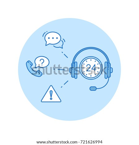 Call center icon in lineart style