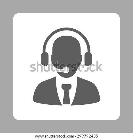 Call center icon. Vector style is dark gray and white colors, flat rounded square button on a silver background.