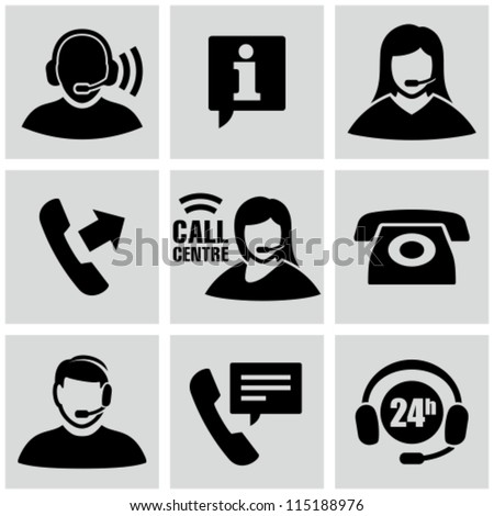 Call center icons set - stock vector