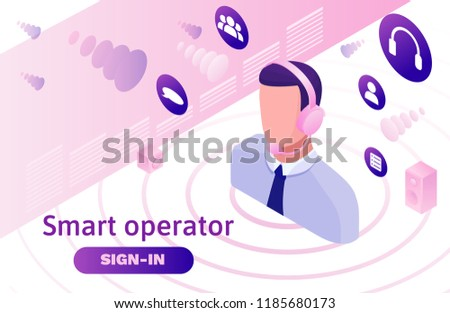 Call center isometric 3d vector illustration, customer service and mobile support landing page, operator with headphone, contact centre concept
