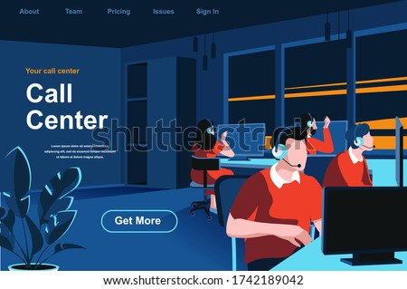 Call center isometric landing page. Hotline operators with headsets in office website template. Online customer support, telemarketing, consultation and assistance perspective flat vector illustration