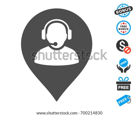 Call Center Marker grey pictograph with free bonus pictograms. Vector illustration style is flat iconic symbols.