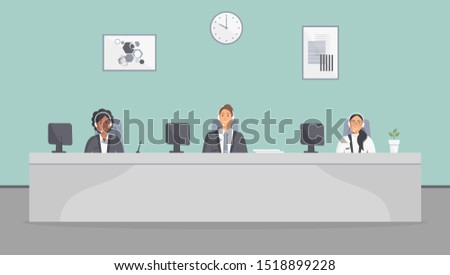 Call center office. Assistants team with headphones sitting at table with monitors.Flat vector illustration. Customer care operators, guy and girls with smiling faces. Online support service agents