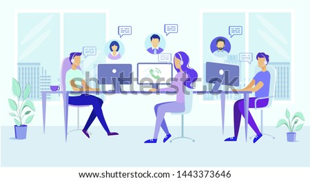 Call Center Office People Work. Man Woman in Headphone Headset Answer Client Call Vector Illustration. Online Technical Support. Hotline Helpline Team. Customer Help. Internet Chat Communication
