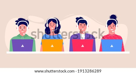 Call center operator avatar icon. Smiling office workers with headsets cartoon characters. Clients assistance, hotline operator, consultant manager, customer support, telephone assistance, solution Photo stock ©