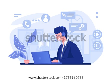 Call center operator. Cartoon character with headset at a desk working in office, customer support consultation and info center concept. Vector illustration call center manager consulting clients.