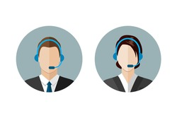 Call center operator icons. Man and woman with a headset. Customer support. Client services and communication,  phone assistance. Web icon, flat style vector illustration