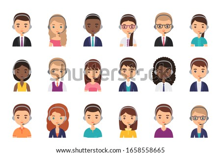 Call center operator in headset. Vector. Service agent customer avatar. Icon Support manager in headphone. Flat design. People faces isolated on white. Cartoon illustration. Online contact help.