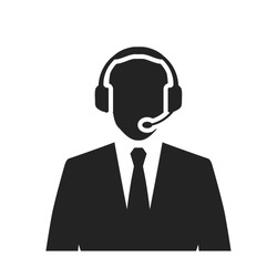 call center operator with headset black web icon. vector illustration