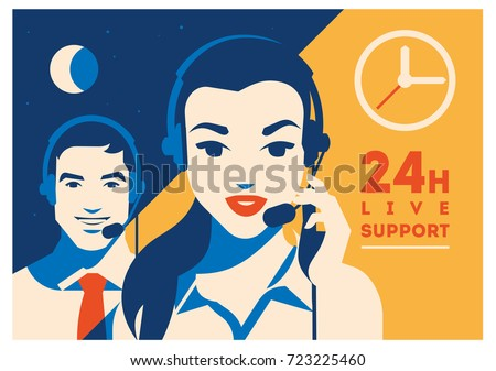 Call center operator with headset poster. Client services and communication, customer support, phone assistance.