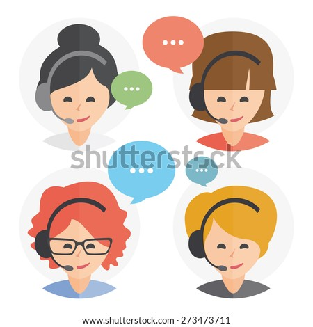 Call center operator with headset web icon design. Female call center avatar set. Client services and communication, customer support, phone assistance, information, solutions. Vector