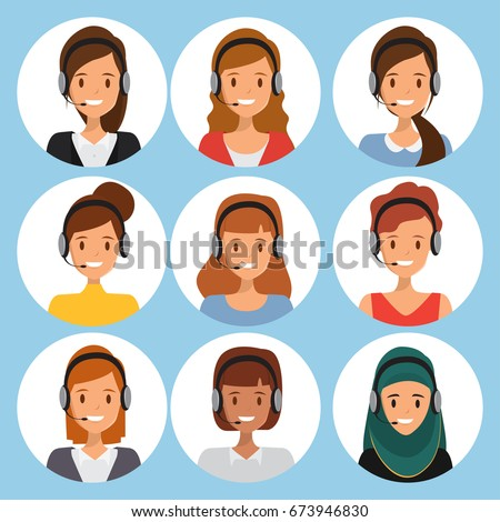 call center people team work. customer service character. illustration vector of avatar woman.