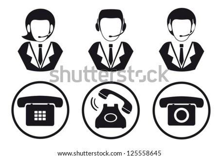 Call center.Peoples and telephones.Vector. EPS-10 (non transparent elements,non gradient)