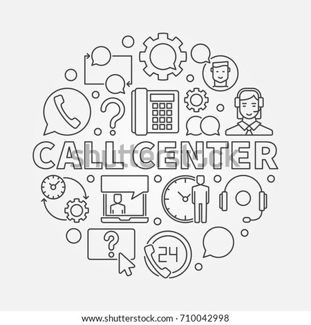 Call Center round illustration. Vector customer service concept circular symbol in thin line style