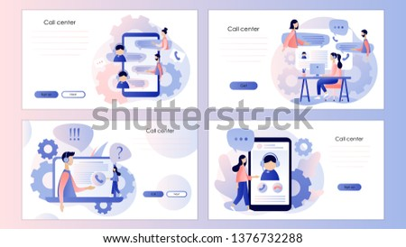 Call center. Screen template for mobile smart phone, landing page, template, ui, web, mobile app, poster, banner, flyer. Flat style. Vector illustration