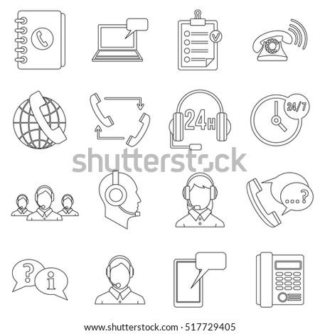 Call center symbols icons set. Outline illustration of 16 call center symbols vector icons for web #517729405