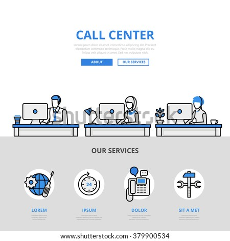 Call center user support office workplace concept flat line art vector icon. Modern website infographics illustration hero image web banner printed material. Line art collection.