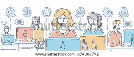 Call center - vector modern line design composition illustration with support team and its workplace. Header, banner for your website. Male, female office workers at the computers.