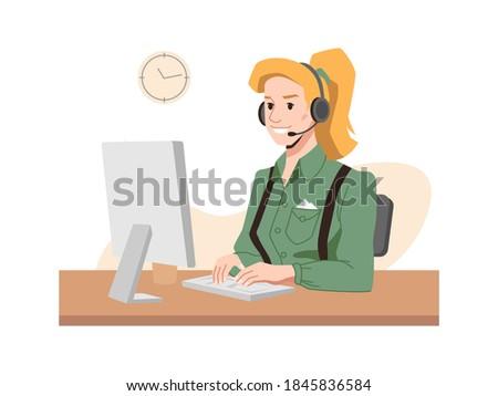 call center worker  vector