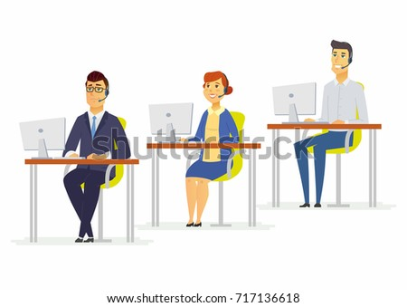 Call center workers - modern cartoon people characters illustration with men and woman at the computers wearing headphones. Team of smiling hotline assistants in the office speaking with clients