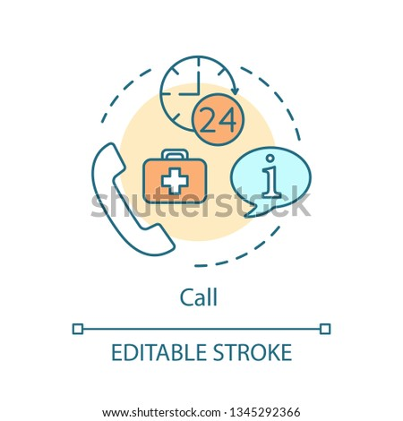Call doctor concept icon. Medical hotline idea thin line illustration. Information center vector isolated outline drawing. Contact us. Nursing services. Hospital, clinic phone calling. Editable stroke