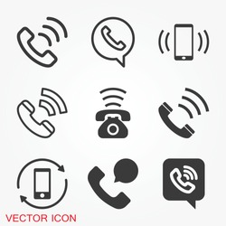Call icon in trendy flat style isolated on grey background. Call icon page symbol for your web site design Call icon logo, app, UI. Call icon Vector illustration, EPS10.
