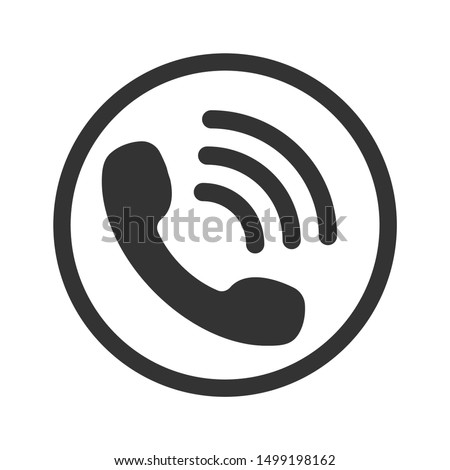 Call icon vector. Noisy phone Flat calling symbol Isolated on white background. Photo stock ©