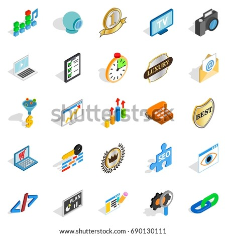 Call icons set. Isometric set of 25 call vector icons for web isolated on white background