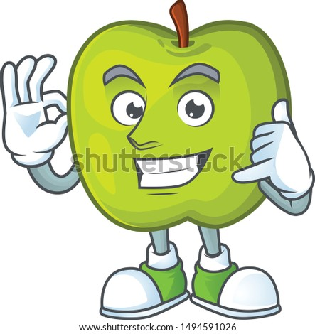 Call me granny smith apple character for health mascot