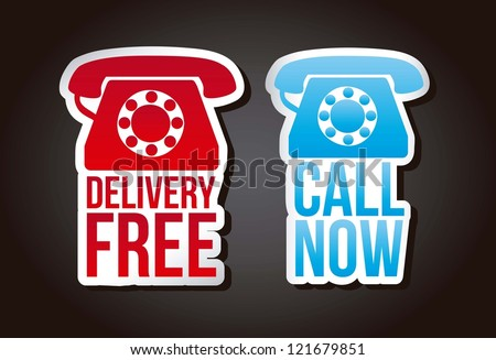 call now and delivery free labels over black background. vector